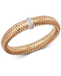 327abfdf843c9 Roberto Coin - 18k Rose   White Gold Primavera Large Diamond Flexible  Bangle Bracelet - Lyst
