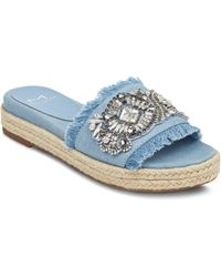 Marc Fisher - Women's Jelly Embellished Chambray Espadrille Slide Sandals - Lyst