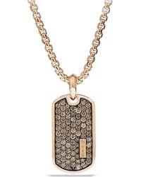 David Yurman - Pavé Tag With Cognac Diamonds In 18k Rose Gold - Lyst