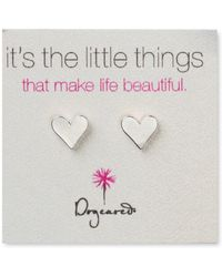Dogeared - Sterling Silver Flat Heart Stud Earrings - Lyst