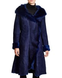 Maximilian - Maximilian Hooded Shearling Coat With Toscana Collar - Lyst