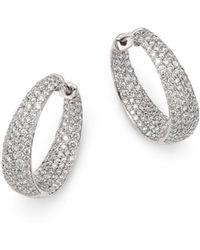 Roberto Coin - 18k White Gold Scalare Diamond Hoop Earrings - Lyst