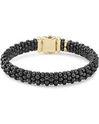 Lagos - Gold & Black Caviar Collection 18k Gold & Ceramic Bracelet - Lyst