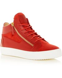 Giuseppe Zanotti - Men's May London Leather & Suede Mid-top Sneakers - Lyst