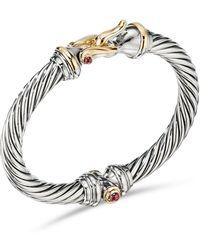 David Yurman - Cable Buckle Sterling Silver, 14k Gold & Rhodolite Garnet Bracelet - Lyst