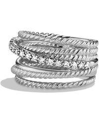 David Yurman - Crossover Wide Ring With Diamonds - Lyst