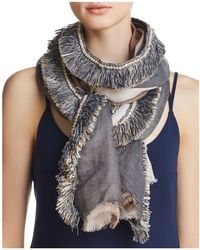 Gaynor - Color-block Fringed Oblong Scarf - Lyst