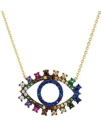 "Aqua - Multi Color Eye Pendant Necklace, 15"" - Lyst"