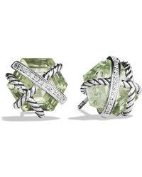 David Yurman - Cable Wrap Earrings With Prasiolite And Diamonds - Lyst