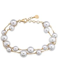 Majorica - Double Row Simulated Pearl Bracelet - Lyst