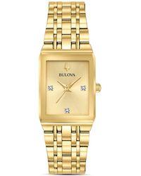 Bulova - Futuro Quadra Gold - Tone Link Bracelet Watch - Lyst