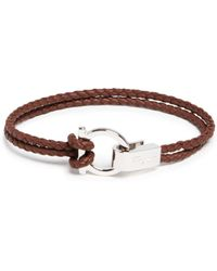 Ferragamo - Braided Double Wrap Bracelet With Gancio Closure - Lyst