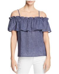Splendid - Ruffled Cold-shoulder Top - Lyst