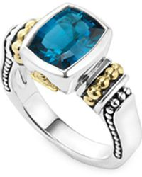 Lagos - 18k Gold And Sterling Silver Caviar Color Bezel Ring With London Blue Topaz - Lyst