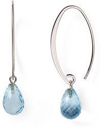 Bloomingdale's - Sterling Silver & Blue Topaz Drop Earrings - Lyst