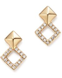 KC Designs - 14k Yellow Gold Diamond Stacked Square Stud Earrings - Lyst