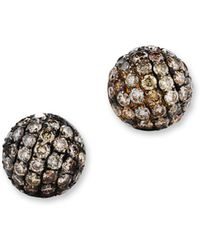 Bloomingdale's - Brown Diamond Stud Earrings In 14k Yellow Gold, .85 Ct. T.w. - Lyst