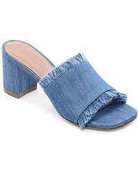 Bernardo - Women's Blaire Frayed Block Heel Slide Sandals - Lyst