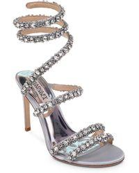 9674d03467d9 Badgley Mischka - Women s Peace Embellished Satin Ankle Wrap High-heel  Sandals - Lyst