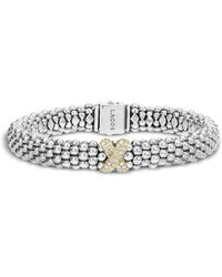 Lagos - Sterling Silver 18k Gold Diamond X Rope Bracelet - Lyst