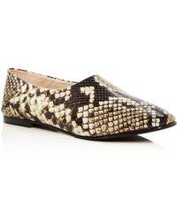 Frēda Salvador - Women's Babouche Snake Embossed Leather Flats - Lyst