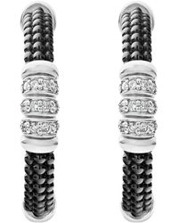 Lagos - Sterling Silver Black Caviar Diamond & Black Ceramic Hoop Earrings - Lyst