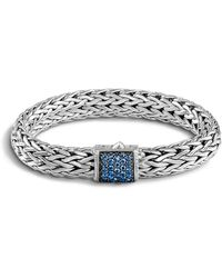 John Hardy - Classic Chain Sterling Silver Lava Large Bracelet With Blue Sapphire - Lyst