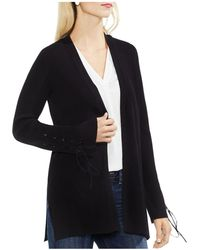 Vince Camuto - Ribbed Lace-up Cardigan - Lyst