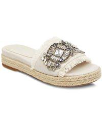 Marc Fisher - Women's Jelly Embellished Linen Espadrille Slide Sandals - Lyst