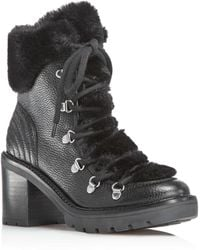 Marc Fisher - Daven Leather & Faux-fur Cuff Lace Up Booties - Lyst