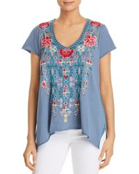 Johnny Was - Peta Embroidered Drape Top - Lyst