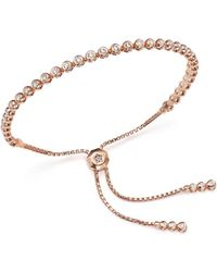 Bloomingdale's - Diamond Bezel Tennis Bolo Bracelet In 14k Rose Gold, 1.20 Ct. T.w. - Lyst
