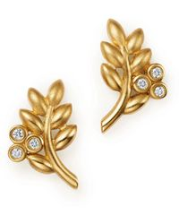 Temple St. Clair - 18k Yellow Gold Olive Branch Earrings With Diamonds - Lyst