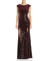 Laundry by Shelli Segal - Sequined Velvet Cap-sleeve Gown - Lyst