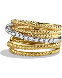 David Yurman - Crossover Wide Ring With Diamonds In Gold - Lyst