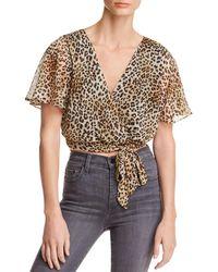 Aqua - Leopard Print Faux-wrap Cropped Top - Lyst