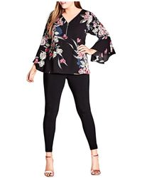 City Chic - Misty Floral Print Bell Sleeve Top - Lyst