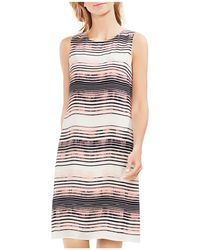 Vince Camuto - Striped Sleeveless Shift Dress - Lyst