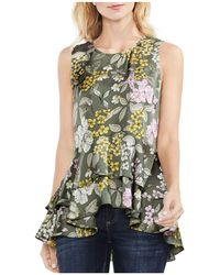 Vince Camuto - Floral Tiered-peplum Top - Lyst