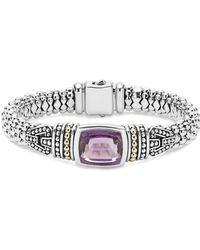 Lagos - 18k Gold And Sterling Silver Caviar Color Bracelet With Rose De France Amethyst - Lyst