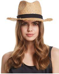 Aqua - Frayed Panama Hat - Lyst