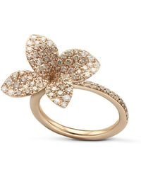 Pasquale Bruni - 18k Rose Gold Secret Garden Pavé Diamond Four Petal Flower Ring - Lyst