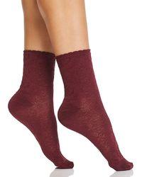 Hue - Picot Edge Luster Shortie Socks - Lyst