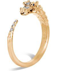 John Hardy - Brushed 18k Yellow Gold Legends Naga Pavé Diamond Small Kick Cuff With Sapphire Eyes - Lyst