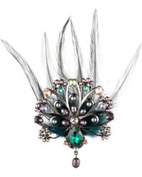 Carolee - Peacock-inspired Multi-stone & Feather Brooch - Lyst
