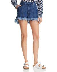 Ksenia Schnaider - Frayed Denim Shorts In Medium Blue - Lyst