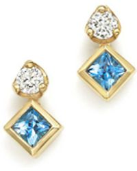 Zoe Chicco - 14k Yellow Gold Icon Stud Earrings With Diamond And Aquamarine - Lyst
