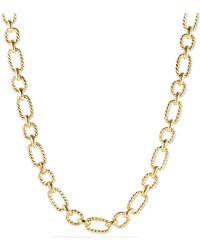 David Yurman   Chain Cushion Link Necklace With Diamonds In 18k Gold   Lyst