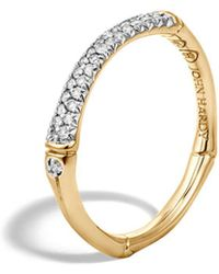 John Hardy - Bamboo 18k Yellow Gold Diamond Pavé Slim Band Ring - Lyst