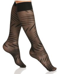 Hue - Abstract Slashes Knee-high Socks - Lyst